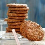 Homemade oatmeal cookies. With milk close up stock photos