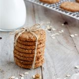 Homemade oatmeal cookies. With milk close up stock image
