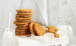 Homemade oatmeal cookies. With milk close up royalty free stock image