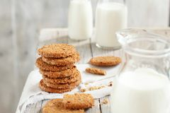 Homemade oatmeal cookies. With milk close up royalty free stock photography