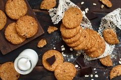 Homemade oatmeal cookies. With milk close up royalty free stock photo