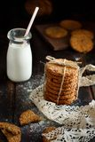 Homemade oatmeal cookies. With milk close up royalty free stock images