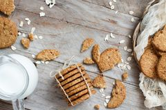 Homemade oatmeal cookies. With milk top view royalty free stock photography