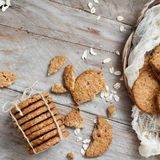 Homemade oatmeal cookies. With milk top view royalty free stock image