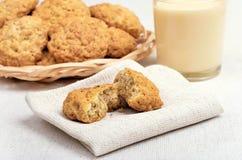Homemade oatmeal cookies and milkshake Stock Photo