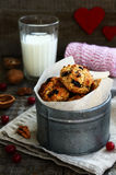 Homemade oatmeal cookies with nuts, raisin and dried cranberries Royalty Free Stock Photos