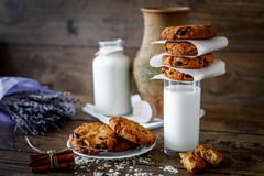Homemade oatmeal cookies with nuts and raisins and glass of milk on dark wooden background, closeup, selective focus Royalty Free Stock Photo