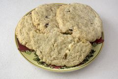 Homemade Oatmeal Cookies in a plate Royalty Free Stock Photo