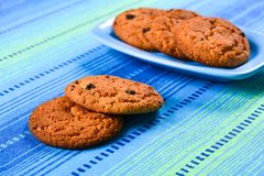 Homemade oatmeal cookies with raisins Stock Images
