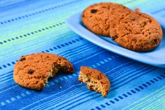 Homemade oatmeal cookies with raisins Royalty Free Stock Image