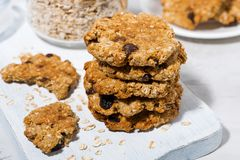 Homemade oatmeal cookies with raisins. Closeup royalty free stock photography