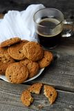 Homemade oatmeal cookies with raisins and coffee Stock Photos