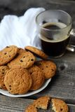 Homemade oatmeal cookies with raisins and coffee Royalty Free Stock Photos