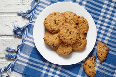 Homemade oatmeal cookies with raisins healthy sweet dessert snack Stock Photo