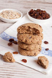 Homemade oatmeal cookies with raisins. Vertical, close up Stock Image