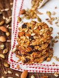Homemade oatmeal cookies with seeds and raisin Royalty Free Stock Photography
