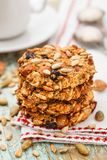 Homemade oatmeal cookies with seeds and raisin Stock Images