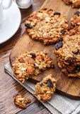 Homemade oatmeal cookies with seeds and raisin Stock Photography