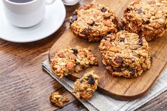 Homemade oatmeal cookies with seeds and raisin Royalty Free Stock Image