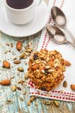 Homemade oatmeal cookies with seeds and raisin Stock Photos