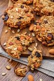 Homemade oatmeal cookies with seeds and raisin Royalty Free Stock Photos