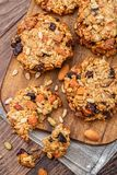 Homemade oatmeal cookies with seeds and raisin Royalty Free Stock Images