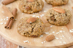 Homemade oatmeal cookies with spices and nuts Stock Photos