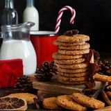 Homemade oatmeal cookies. With spices and pine cones royalty free stock photo