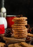 Homemade oatmeal cookies. With spices and pine cones stock images