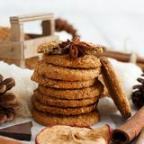 Homemade oatmeal cookies. With spices and pine cones stock photo
