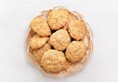 Homemade oatmeal cookies, top view Stock Photo