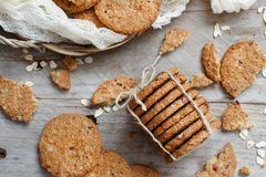 Homemade oatmeal cookies. Top view on a wooden table royalty free stock photography