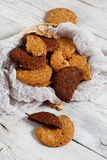 Homemade oatmeal cookies. On a wooden background close up stock images