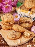 Homemade oatmeal cookies on a wooden board Stock Images