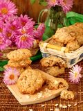 Homemade oatmeal cookies on a wooden board Royalty Free Stock Images