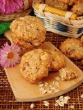 Homemade oatmeal cookies on a wooden board Royalty Free Stock Image