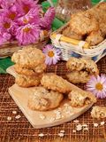 Homemade oatmeal cookies on a wooden board Stock Photos