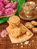 Homemade oatmeal cookies on a wooden board Royalty Free Stock Photos