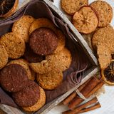 Homemade oatmeal cookies. In a wooden tray top view stock photo