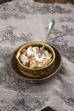 Homemade oatmeal crunch with milk Stock Photo