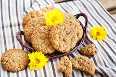 Homemade oatmeal peanut butter cookies Royalty Free Stock Image