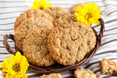 Homemade oatmeal peanut butter cookies Stock Images