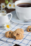 Homemade oatmeal and raisin cookies with a cup of coffee. Royalty Free Stock Photo