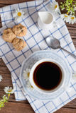 Homemade oatmeal and raisin cookies with a cup of coffee. Top vi Royalty Free Stock Photos