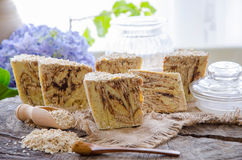 Homemade oats soap Royalty Free Stock Photography