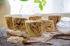 Homemade oats soap Royalty Free Stock Photos