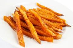 Sweet potato fries. Homemade oil fried sweet potato fries stock photos