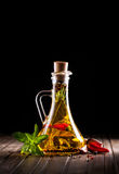 Homemade oil with herbs Royalty Free Stock Photography