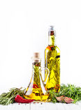 Homemade oil with herbs Royalty Free Stock Image