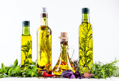 Homemade oil with herbs Stock Photo